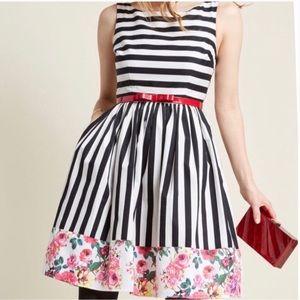 ModCloth Striped Floral Dress SZ L